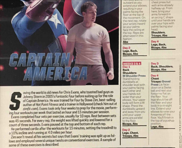 Here Portions Of The Chris Evans Workout That Prepared Him To Play Captain America Is Outlined In Muscle And Fitness Magazine